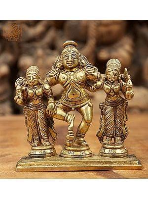 Lord Krishna with Rukmini and Satyabhama