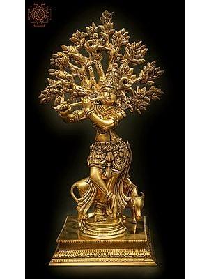 Fine Krishna in Tribhanga Fluting Under a Magnificent Tree