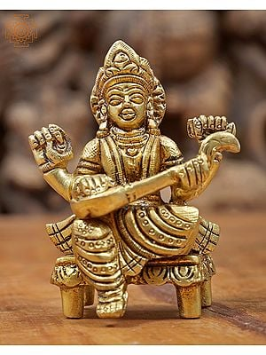 Devi Saraswati Seated on chowki - Small Size