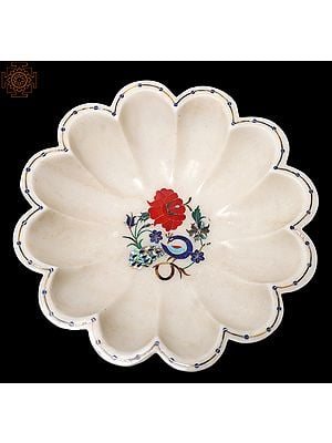 Designer Flower Bowl With Colorful Inlay Work