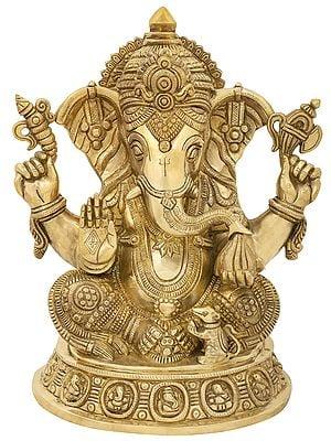 Blessing Ganesha Seated on Ashta-Ganesha Base