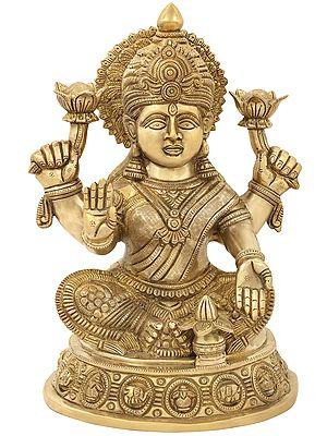 Vidya Lakshmi on a Unique Elephant and Kalash Pedestal