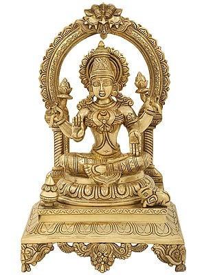 Devi Lakshmi Seated On Kirtimukha Prabhawali Throne