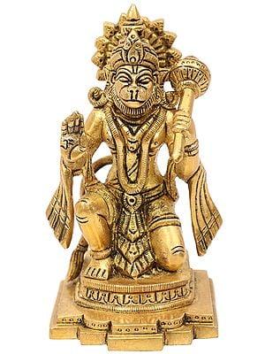 Seated Hanuman in Ashirwad Mudra