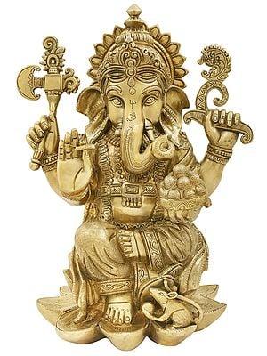 "16"" Lotus Enthroned Ganesha in His Innocent Avatar   Ganesha Brass Statue   Handmade   Made In India"