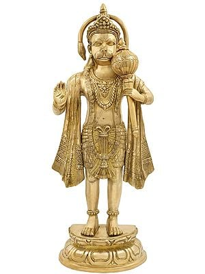 Superfine Standing Hanuman with The Tail in an Aureole
