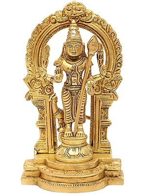 Lord Kartikeya Standing on Kirtimukha Prabhawali Throne