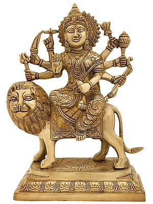 Goddess Durga in Abhay Mudra having Fierce Gaze