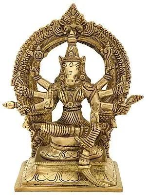 Eight Armed Goddess Varahi Seated On Kirtimukha Prabhawali Throne