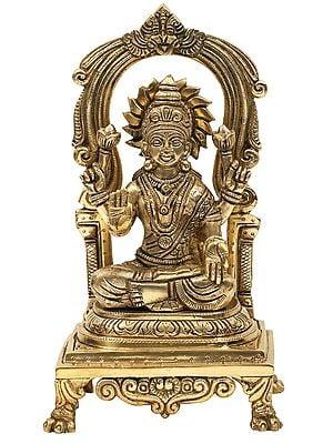 Goddess Lakshmi Seated On Kirtimukha Prabhawali Throne
