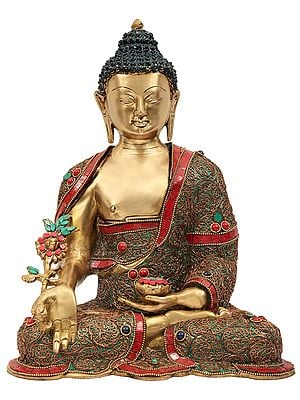 Tibetan Buddhist Medicine Buddha With Superfine Inlay  Work