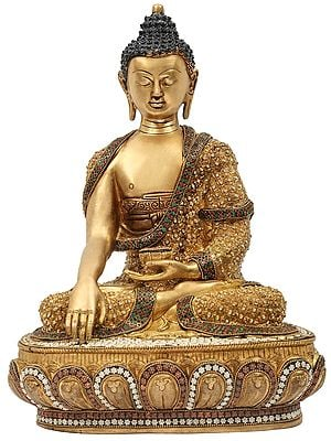 Lord Buddha in the Bhumisparsha Mudra With Inlay Stone Work