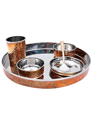 Stainless Steel Dinner Thali Set (Copper Plated)