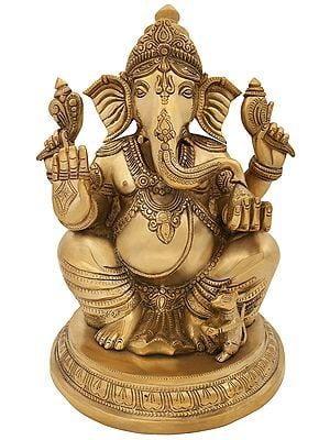 Lord Ganesha Seated on Round Pedestal