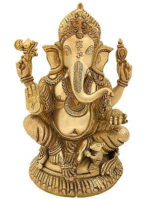 Lord Ganesha Seated on Small Round Chowki