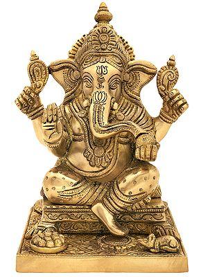 Lord Ganesha Seated on Beautiful Square Pedestal