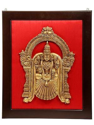 Goddess Meenakshi Surrounded by Kirtimukha Prabhavali Wall Hanging with Frame
