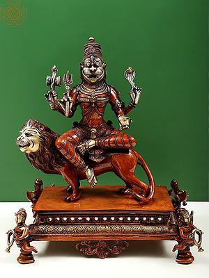 "14"" Superfine Statue of Pratyangira Devi | Incarnation of Goddess Chandni/Durga | Brass Statue | Made in India | Handmade"