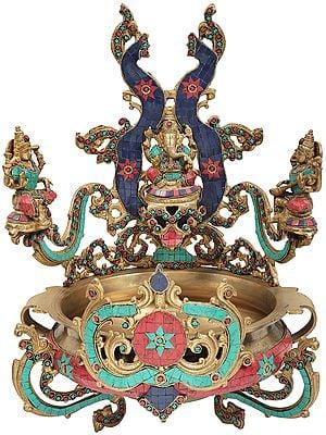 Beautiful Urli with Central Mounted Ganesha with Side Mounted Lakshmi and Saraswati