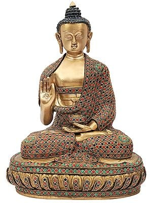 Blessing Lord Buddha With Colorful Inlay Work