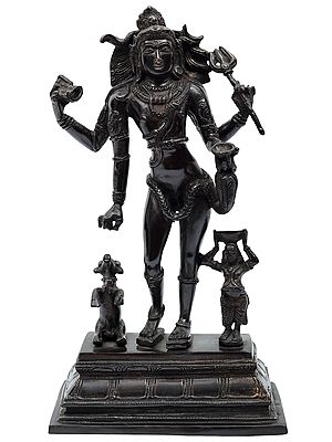 Standing Lord Shiva with Nandi and Devotee