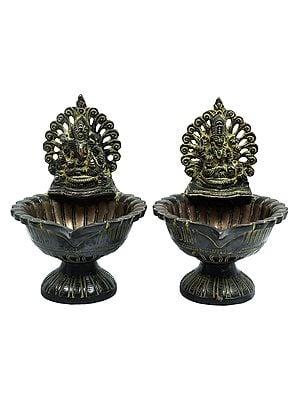 Lakshmi Ganesha Lamp Pair