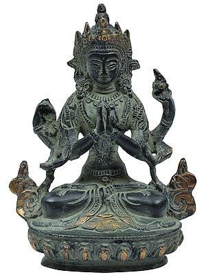 Tibetan Buddhist Deity Goddess Green Tara in Namaskara Mudra