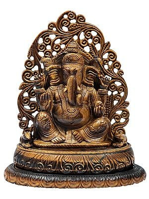 Royal Enthroned Tiger-Eye Ganesha