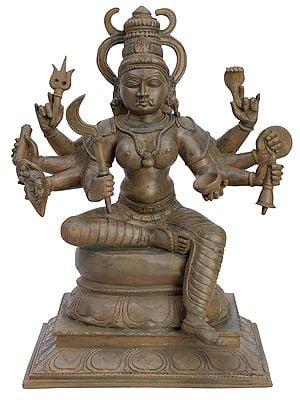 "12.5"" Goddess Kali Seated on Pedestal | Handmade | Panchaloha Bronze"