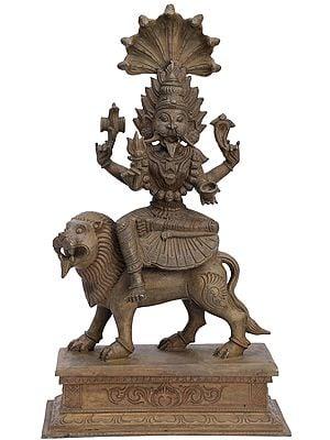 "16"" Lion-Faced Devi Pratyangira | Handmade | Madhuchista Vidhana (Lost-Wax) | Panchaloha Bronze from Swamimalai"