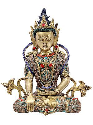 Crowned Buddha in Bhumisparsha Mudra with Colorful Inlay Work