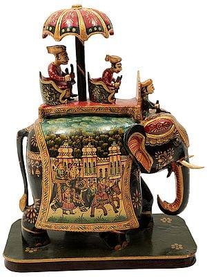 King Seated on His Royal Elephant | Wood Handmade Hand painted Elephant