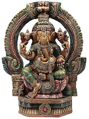Colorful Lord Ganesha Seated on Lotus Throne with Kirtimukha Prabhavali