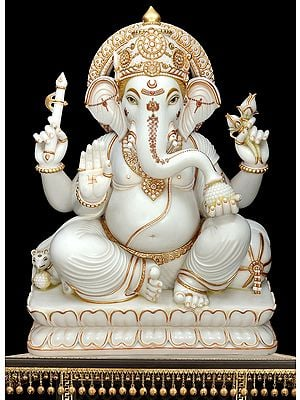 Super Large White Marble Ganesha | Shipping By Sea