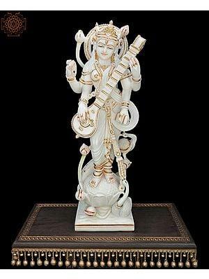 The Very Elegant Standing Goddess Saraswati - Large Size