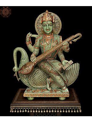 Superfine Large Goddess Saraswati Made of Jade | Signature Piece