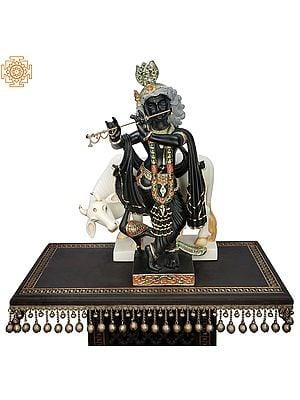 "24"" Superfine Fluting Krishna with His Cow | Flute Standing Krishna Idol | Narayana Black Marble Statue | Handmade | Made In India"