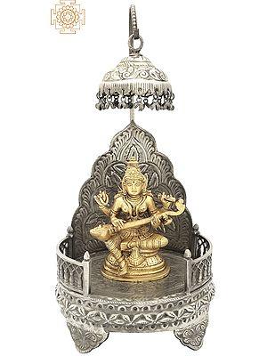 Goddess Saraswati Seated on a Royal Throne