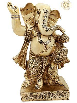 "14"" Superfine Dancing Ganesha | A Symbol Of Success | Brass Statue | Handmade | Made In India"