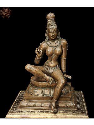 "21"" The Signature Stance Of The Seated Devi Uma | Handmade | Madhuchista Vidhana (Lost-Wax) | Panchaloha Bronze"