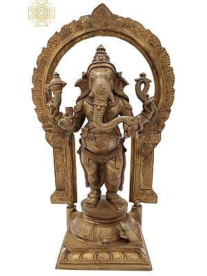 "11.5"" Single-Tusked Standing Ganesha | Handmade | Panchaloha Bronze"