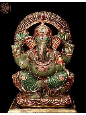 Blessing Ganesha Carved in Jade Gemstone