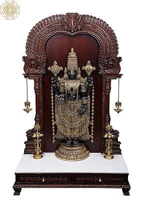 Super Large Tirupati Balaji in Wooden Frame Stand with Vaishnav Symbol Lamp