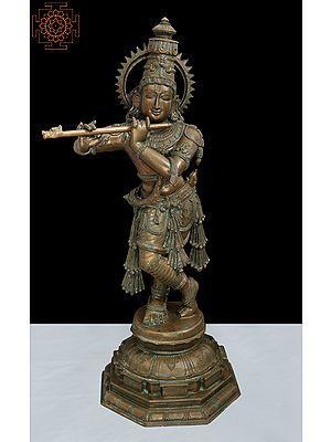 "31.5"" Fine Quality The Graciously Adorned, Smiling Tribhanga Murari | Handmade | Madhuchista Vidhana (Lost-Wax) | Panchaloha Bronze"