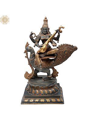 Gold-And-Charcoal Devi Saraswati