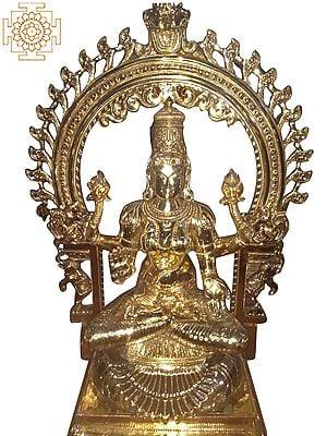 "30"" Devi Lakshmi Seated on a Royal Throne | Handmade | Madhuchista Vidhana (Lost-Wax) | Panchaloha Bronze from Swamimalai"