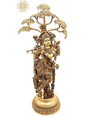 Superfine Tribhanga Murari With The Kadamba Tree Behind Him