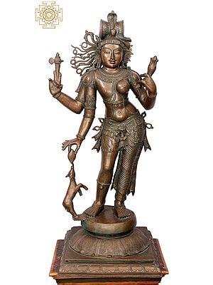 "44"" Ardhanarishvara | Handmade | Madhuchista Vidhana (Lost-Wax) | Panchaloha Bronze from Swamimalai"