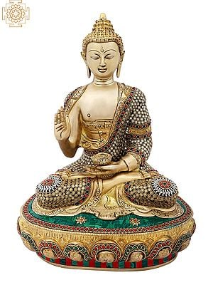 Preaching Buddha with Colorful Inlay Work