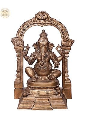 "15"" Sitting Ganesha with Kirtimukha Prabhavali | Handmade | Madhuchista Vidhana (Lost-Wax) | Panchaloha Bronze from Swamimalai"